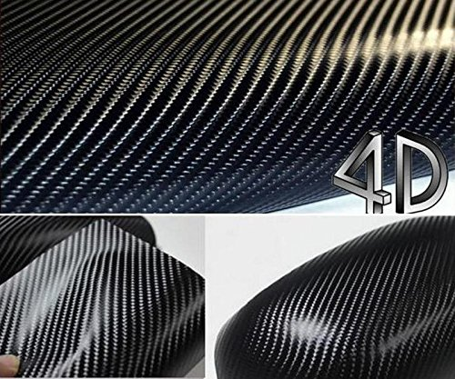 DIYAH 4D Black Carbon Fiber Vinyl Wrap Sticker with Air Realease Bubble Free Anti-Wrinkle (120' x 60' / 10FT x 5FT)