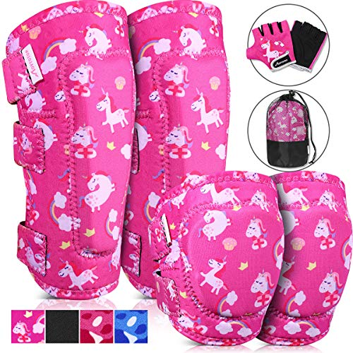 MOVTOTOP Knee Pads for Kids, Soft Kids Knee and Elbow Pads with Gloves Set - Reinforced Stitching Around, Toddler Sports Protective Gear with Mesh Bag for Kids Skateboard Rollerblading Bike Scooter