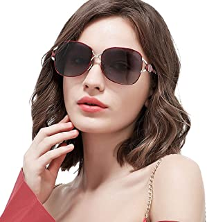 Durable Men's/Women's Polarized Sunglasses Red Travel Riding Outdoor Sports Driving Sunglasses Beach UV Protection UV400 Metal Frame Ultra Light Unisex (Color : Red)