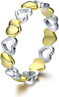 BAMOER 925 Sterling Silver Endless Love Heart Ring Stackable Finger Ring Black CZ for Women Girls Wedding Birthday