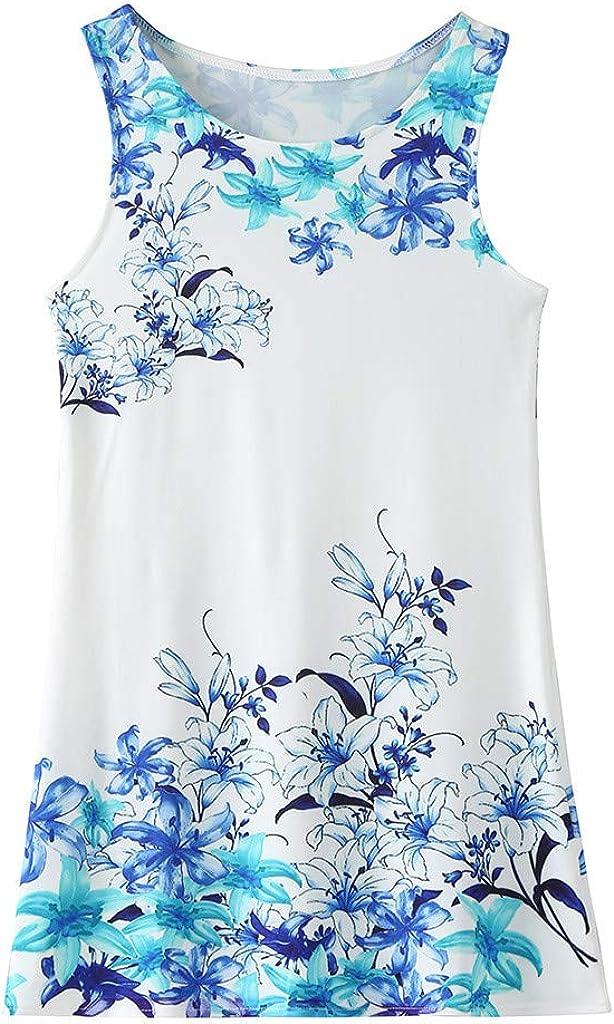 Swyss Girls' Summer Tank Dress Cartoon Funny Print Casual Sleeveless T-Shirt Dress