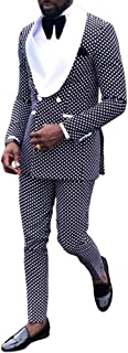 Mens Polka Dots Groom Suits 2 Pieces Slim Fit Shawl Lapel Casual Tuxedos