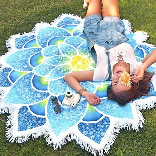 Water Sport Polygone Magnifique Gland Lotus été Serviette de bain Sable Serviette de Plage châle Foulard Tapis de Yoga, Taille: 150 x 15