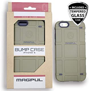 TJS Case for iPhone 6/iPhone 6s [Tempered Glass Screen Protector] Magpul Industries Bump MAG486 Polymer Cover Retail Packaging Compatible Apple iPhone 6/iPhone 6s 4.7