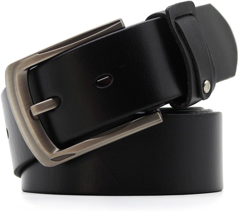 Men's Belt Classic Genuine Leather Retro Buckle Belt Male Leisure Business (color   Black, Size   XXL)