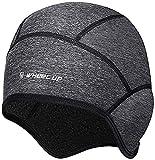 Bonnet d'hiver en polaire thermique coupe-vent pour casque de moto pour sports de plein air équitation/ski/course à pied Gris foncé
