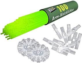 KNIXS 100 x świecące na ramiona w kolorze zielonym wraz z 100 x łącznikami 3D i po 2 x łącznikami do piłek i 7-otworowymi ...