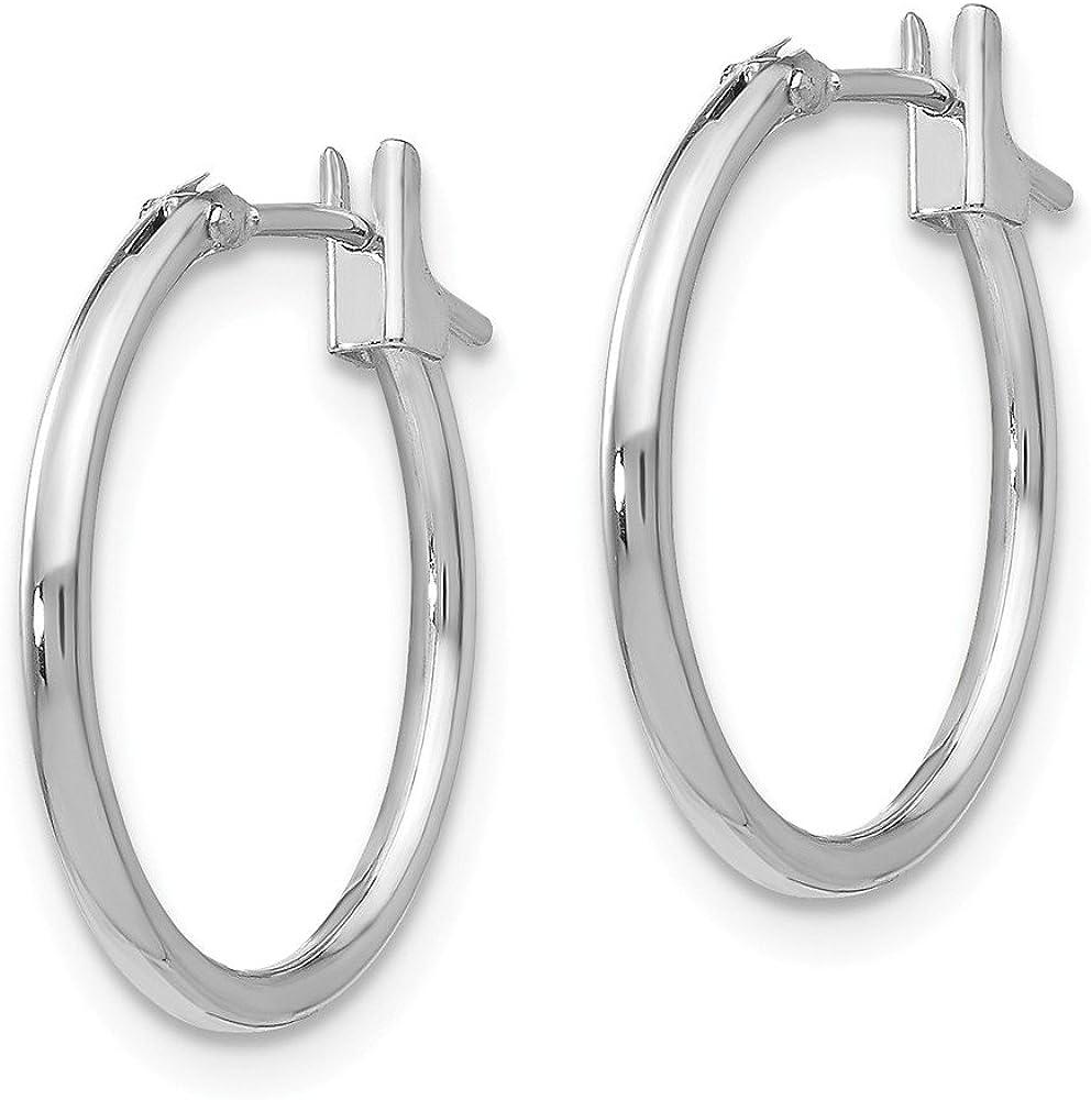 14k White Gold 1.25mm Hoop Earrings Ear Hoops Set Fine Jewelry For Women Gifts For Her