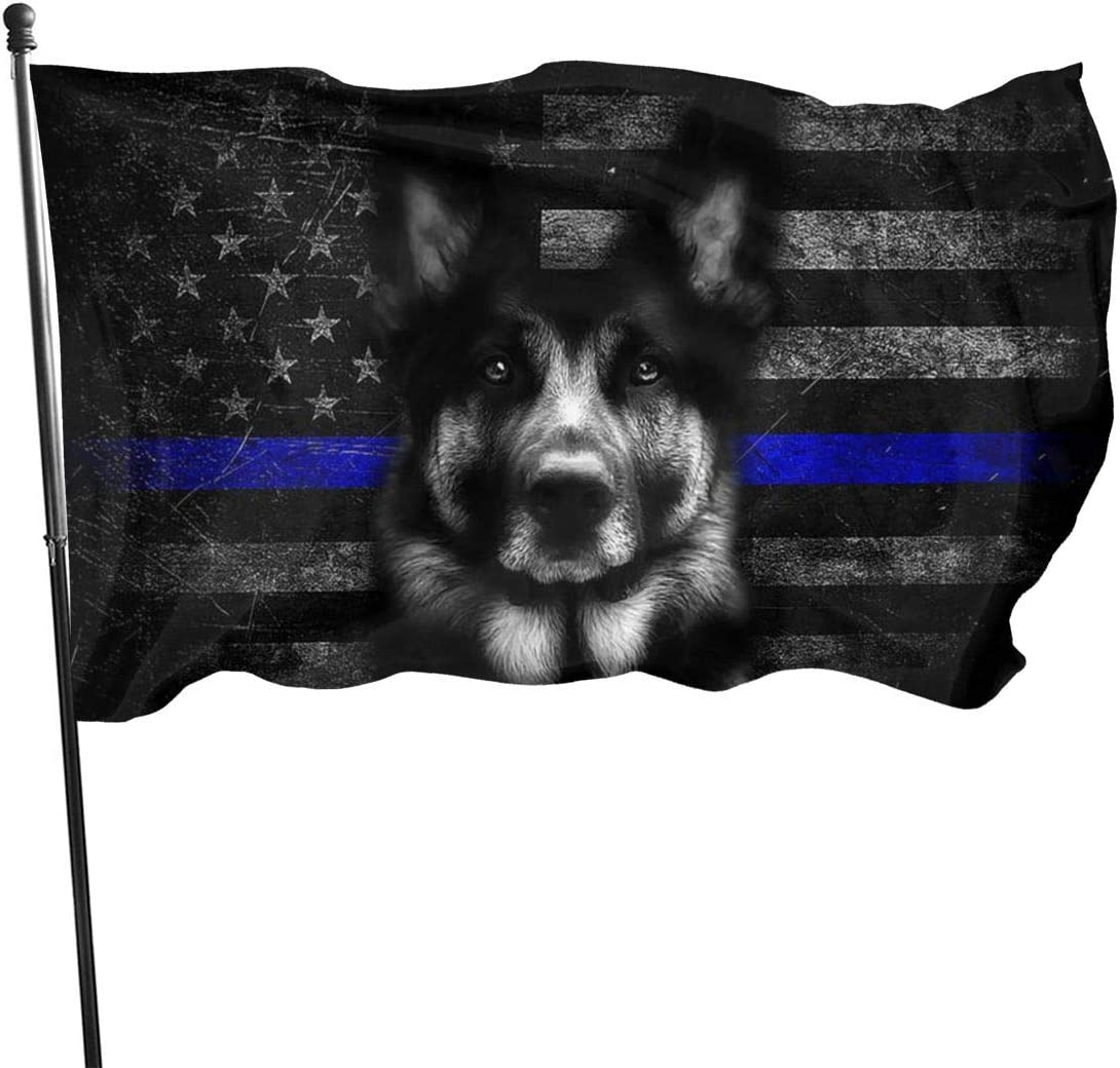 Wolla-ST German Shepherd Thin Blue Line Garden Flag 3x5 Ft Yard Flag Banner Lawn Outdoor Decoration Election Day
