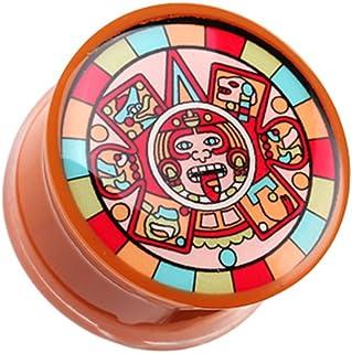 Sold as a Pair Plugs Glow in The Dark Multi Colored Mayan Single Flared Ear Gauge Plug Cosmic