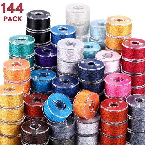144 Stück vorgewickelte Spulen für Nähgarn, kompatibel mit Brother/Babylock/Janome/Elna/Singer Stickmaschine, Größe A (Schwarz, Weiß, Blau, Rot, Grau)