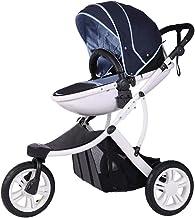 HXPH Sistema de Viaje para bebés | El Paquete Incluye una Silla de Paseo Trasera y orientada hacia adelante, una Silla de Paseo con capazo, cubrepiés y Funda Impermeable 70x66x105cm Blau