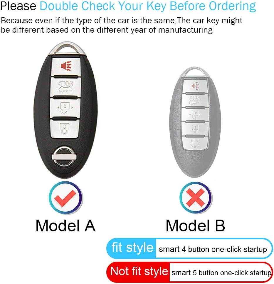 for Nissan Key Fob Cover Case,Genuine Leather Key Case Cover Protector Compatible with 2020 Nissan Versa Sentra Maxima Rogue Maxima Armada Leaf Sentra GT-R 5buttons Keyless Smart Key Fob Holder.