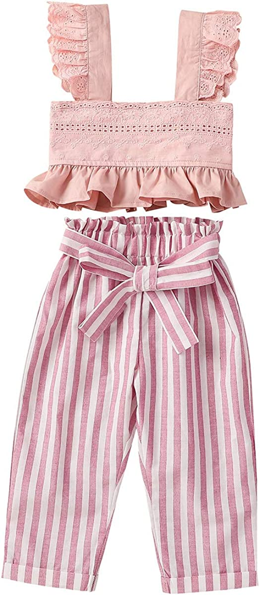 Toddler Baby Girls Summer Outfits Flutter Sleeve Ruffle Lace Crop Tops + Bowknot Striped Pants Trouses Casual Wear 2Pcs