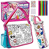 Klever Kits Color Your Own Unicorn Themed Messenger Bag and Pencil Case Including 8 Rainbow Fabric Markers and 3 Sheets Adhesive Gems, Crafts Activity Kit for Kids, DIY Coloring Arts & Crafts
