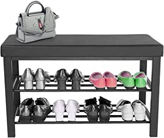 Shoe Rack Bench with Cushion, 2 Shelves Storage Bench w/Faux Leather Top Bed Bench, Boot Organizing Upholstered Shoe Rack Entryway Storage, 31.5 x 11.8 x 19.7 Inches (Black)