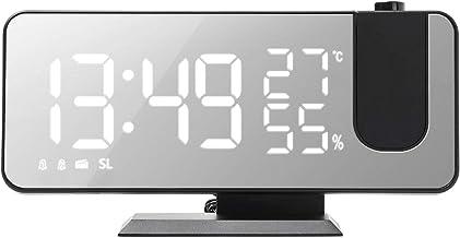 Eastdall Despertador Com Projeção Digital,Despertador de projeção digital com superfície espelhada 4 em 1 Relógio com proj...