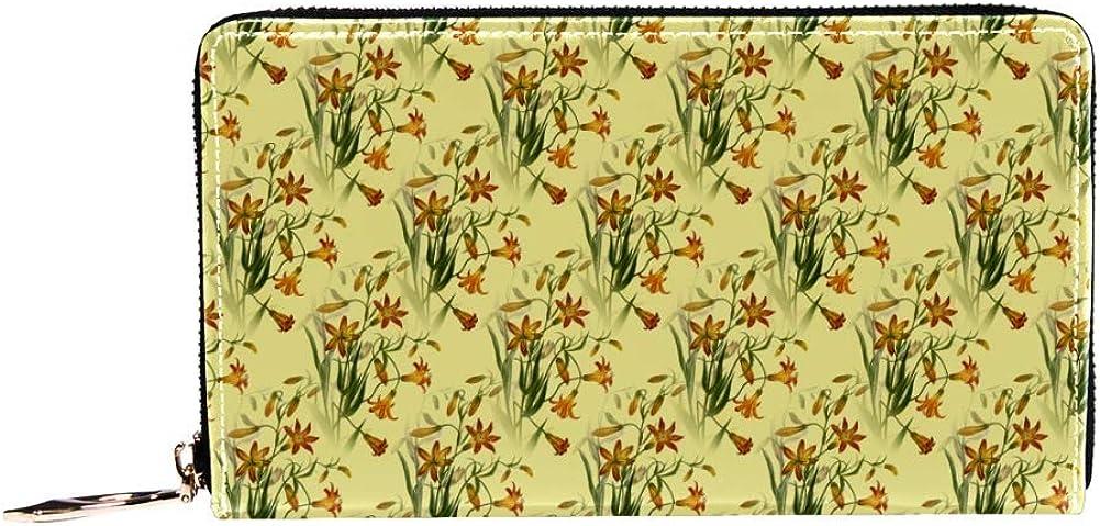 Inhomer quality assurance Yellow Very popular Daffodil Flower Women Organi Leather Purse Wallet