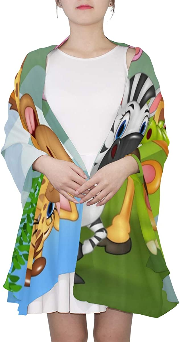 Cartoon Wild Animal In The Jungle Unique Fashion Scarf For Women Lightweight Fashion Fall Winter Print Scarves Shawl Wraps Gifts For Early Spring