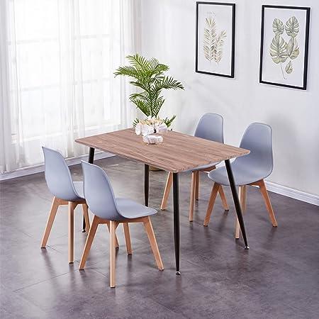 GOLDFAN Tables de Salle à Manger et 4 Chaise Table en Bois avec t 4 Gris Chaise pour Cuisine Salon Bureau