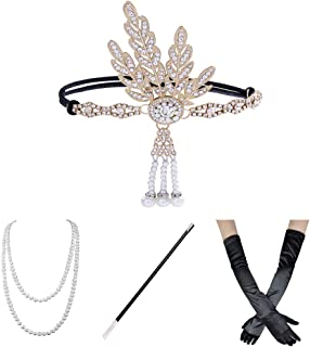 1920s Flapper Accessories for Women Headband Earrings Necklace Gloves Cigarette Holder
