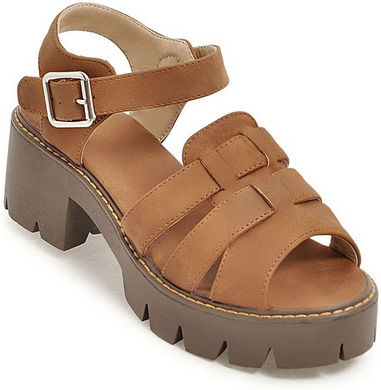 AdeeSu Womens Pumps-shoes Peep-Toe Buckle Ankle-Wrap High-Heel Cold Lining Solid Manmade Huarache Urethane Pumps shoes SLC03532