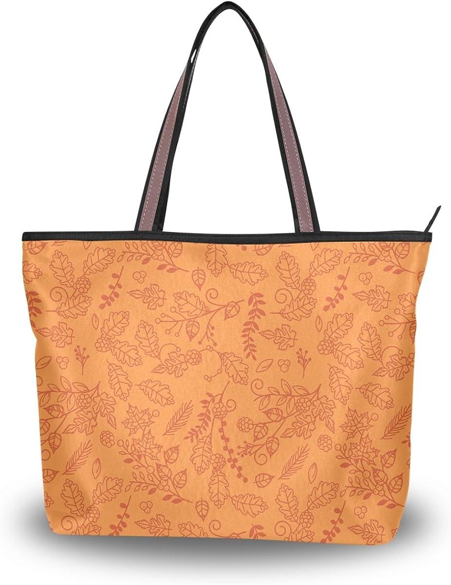 JSTEL Women Large Tote Top Handle Shoulder Bags Autumn Thanksgiving Flower Patern Ladies Handbag