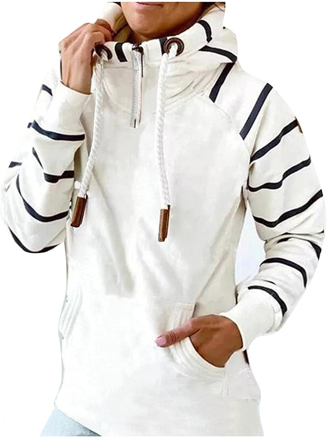 UQGHQO Hoodies for Women Autumn Zipper Turtleneck Stitching Long Sleeve Hooded Blouse Casual Patchwork Thermal Pullover