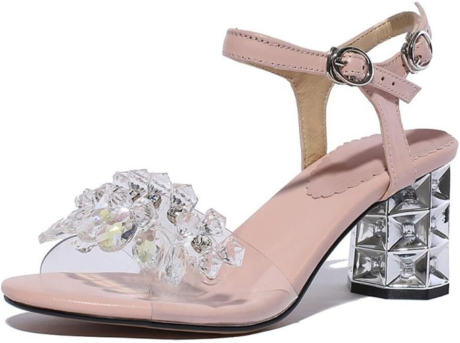 LZWSMGS Women's Open Toe Leather T-Strap Sandals Summer Sling Strap Rhinestone High Heels Glamgoldus Pump Pink Silver Ladies Sandals (color   Pink, Size   36)