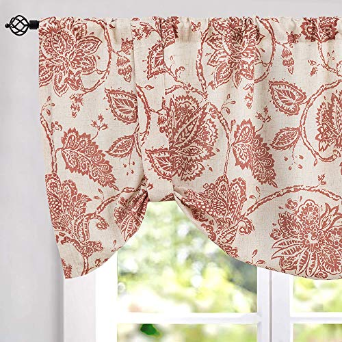 JINCHAN Tie-up Valances for Windows Linen Textured Adjustable Tie Up Shade Window Curtain Rod Pocket Rustic Jacobean Floral Printed Tie-up Valance Curtains 18 Inches Long 1 Panel Terra Red