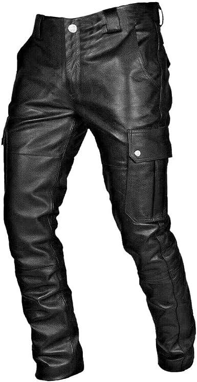 Zezkt Pantalones De Cuero Para Hombre Punk Retro Gothic Moda Slim Casual Pantalones Largos Pantalones De Cuero Negro Pantalon De Moto Amazon Es Ropa Y Accesorios