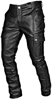 Orfilaly Men`s Faux Leather Motorcycle Touring Biker Trousers Cool Black Gothic Retro Slim Fit Long Pants Plus Size S-5XL