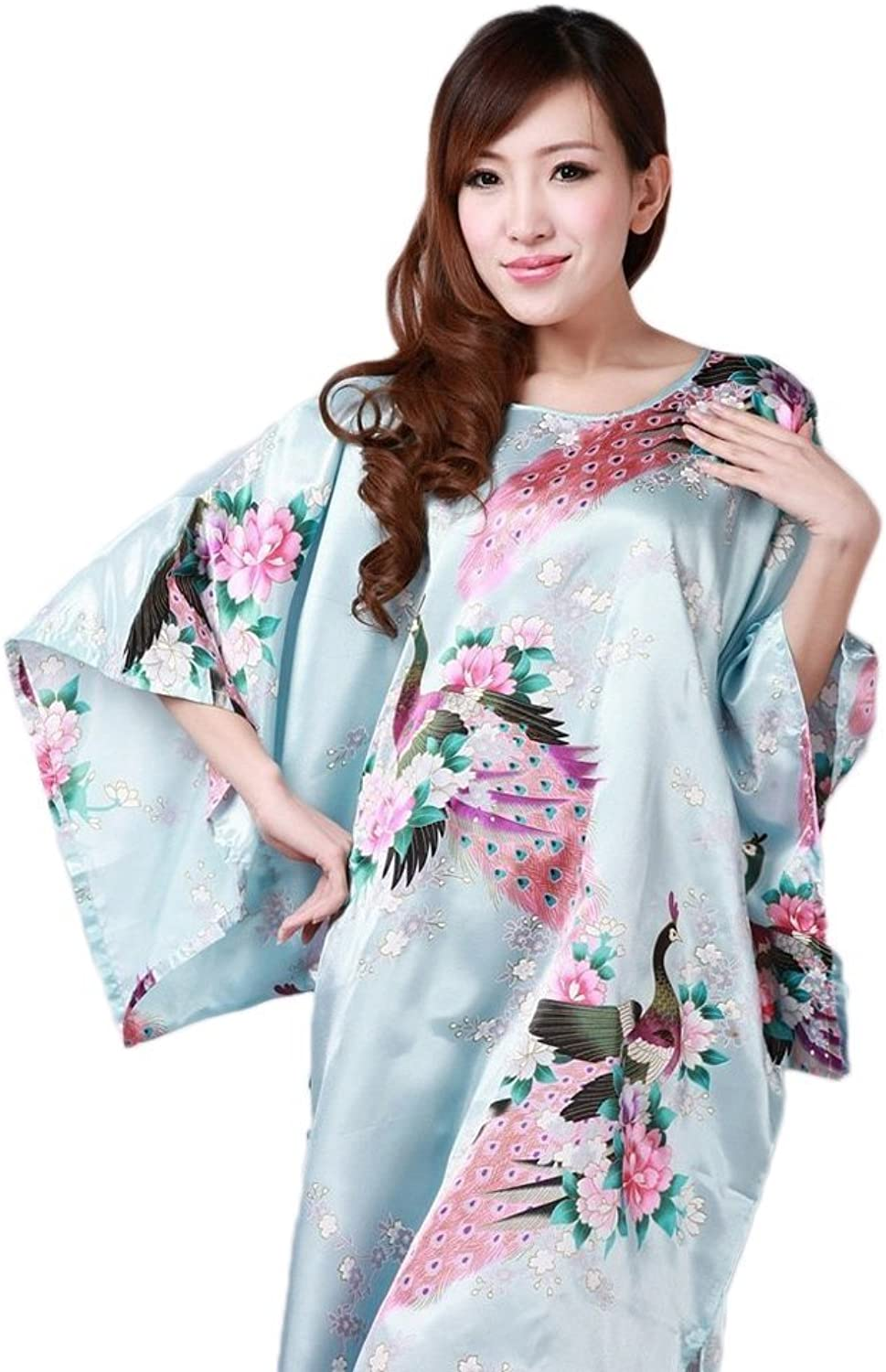 Women's Silk Polyester Gown Robe Nightgown (Light bluee)