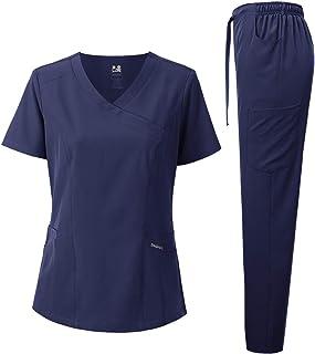 Dagacci Medical Uniform Women's Scrub Set 4-Way Stretch Y-Neck Stitch Tape Top and Pants