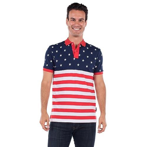 Tipsy Elves Mens American Flag Polo Shirt Blue