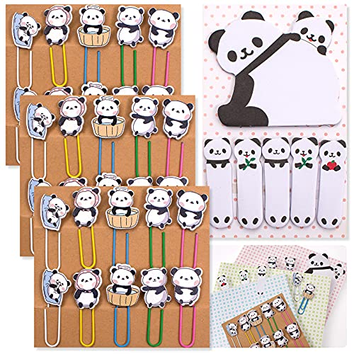 pandaonly 30Pcs Panda Paperclip Bookmarks, 3 Set Cute Panda Bookmark Clips with 1 Sheet Panda Sticky Notes-Funny Paperclips Bookmarks Planner Clips of Animal for Office Supplies Coworkers Gifts