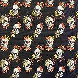 Kt KILOtela Tela de Patchwork - Estampación Digital - 100% algodón - Retal de 50 cm Largo x 140 cm Ancho | Calaveras, catrinas - Negro, Rojo, Naranja ─ 0,50 Metro