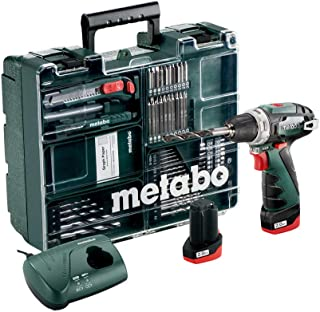 Metabo 6.00080.88 PowerMaxx BS Basic Driver with Quick Change Drill Chuck, Charger, 2 x 2.0Ah Batteries and 62 Piece Mobil...