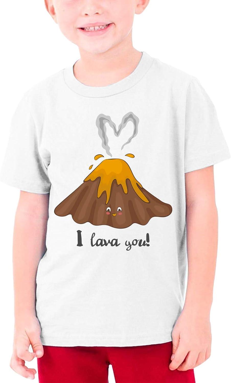 I Lava You Cute Volcano Lava Boys Girls Tshirts Short Sleeve Cotton T-Shirt Youth Tees Tops