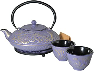 M.V. Trading T8240 Cast Iron Tea Set with Trivet, 27 Ounce, Lavender Dragon Gold Accent