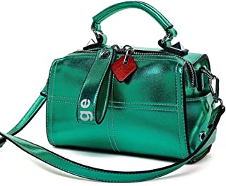Fashion New Exquisite Fashion Casual Fashion Durable Slung Soft Leather Portable Pillow Bag Shoulder Small Leather Handbag (Color : Green)
