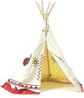 Tipi speltält för barn wigwam speltält indiantält indianer, trästänger och bomull, Garden Games 3025