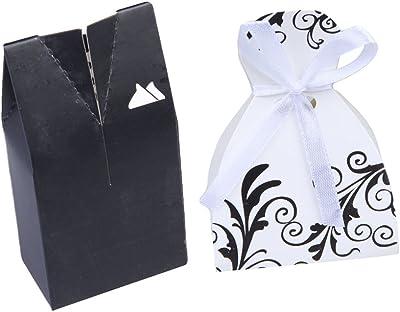 Vipeco 100pcs Tuxedo Dress Groom Wedding Party Favor Gift Ribbon Candy Boxes B