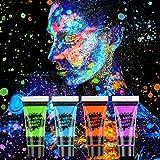 AGPTEK Kinderschminke Set, 16 Schminkfarben, 4 UV Fluoreszierende Pigmente, 2 Haarfärbemittel, 2 Kunst Tattoo Malstifte und 2 Schachteln Glitzer. Mit 30 Muster Schablonen