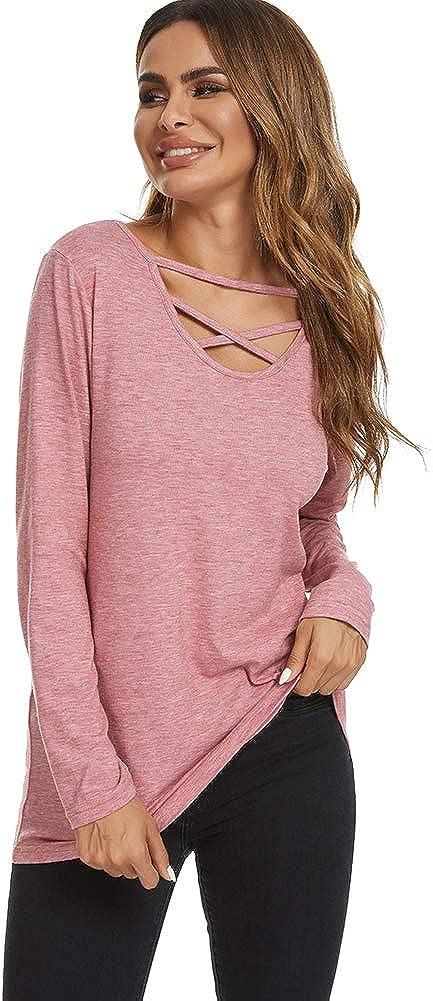 Ranee Womens Cross V Neck Long Sleeve Casual Loose Tunic Shirt Blouse Top