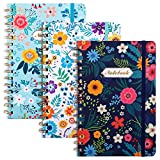 EOOUT 3 Pack A5 Spiral Notebook, Ruled Journal, Hardcover Notebook, 6'x 8.5', 160 Pages, Cute Blooming Floral, Twin-Wire Binding, Back Pocket, 100gsm Paper, for Office, School Supplies