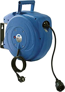 as – Schwabe Automatischer Kabelaufroller für den Innenbereich – 15 m Kupplungsleitung & 1,5 m Steckerzuleitung – 230 V / 16 A robuste Kabeltrommel mit Aufrollautomatik – IP20 – Blau I 12611