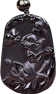 Feng Shui Natural Obsidian Gemstone Zodiac Zodiac Carving Amulet Pendant Necklace W4015 (Monkey,Bright)