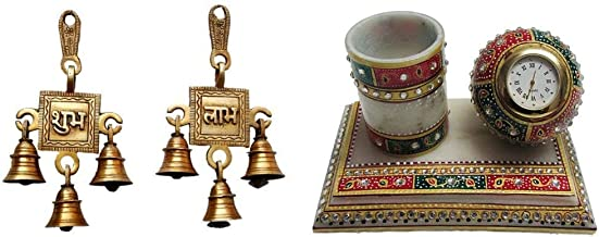 eCraftIndia Shubh Labh Brass Hanging Bells (8 cm X 2 cm X 15, Brown) & Meenakari Pen Stand with Watch (6 in, White, Green and Red) Combo