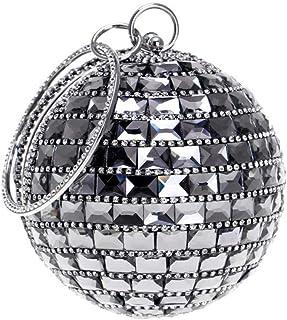 FengheYQ Women's Spherical Diamond Luxury Feast Dinner Bag Wild Wedding Party Ring Handbag Chain Shoulder Messenger Bag Size: 12.5 * 25 * 9cm (Color : Black)